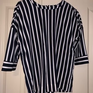 Navy blue and white thick pinstripe blouse
